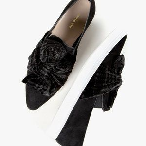 NEW ALL BLACK Velvet PT Bowtie Sneak Bow Suede 7.5